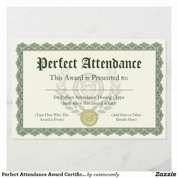 Perfect attendance Award Wording Lovely 18 attendance Certificate Templates Word Publisher