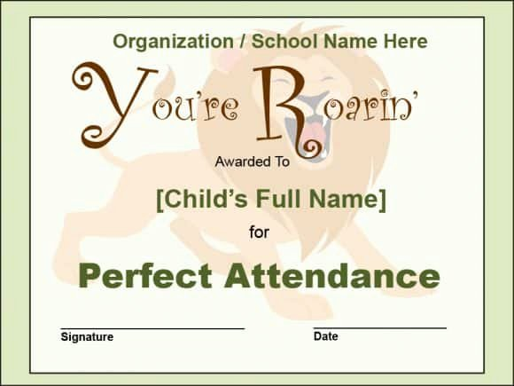 Perfect attendance Award Wording Lovely 40 Printable Perfect attendance Award Templates & Ideas