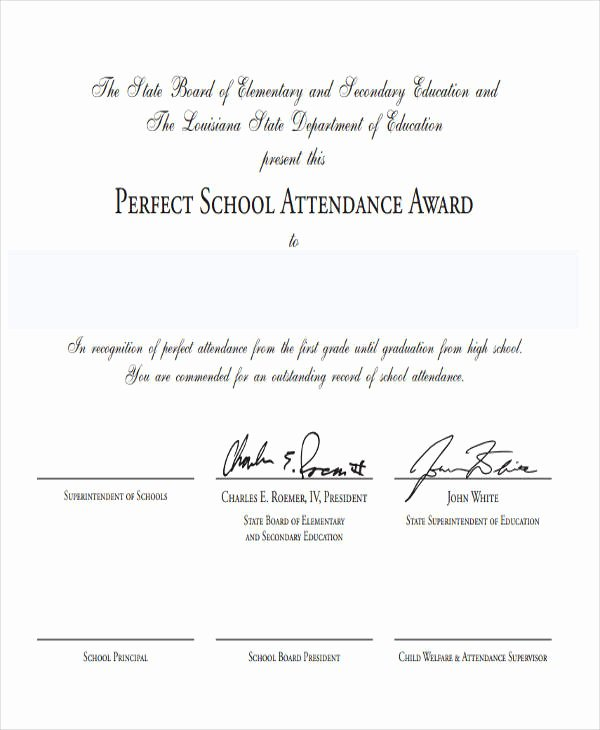 Perfect attendance Award Wording Lovely 40 Sample Award Certificates Word Psd Ai Eps Vector