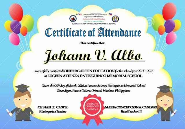 Perfect attendance Certificate Editable Awesome Certificate Of attendance Templates Editable Deped Lp S