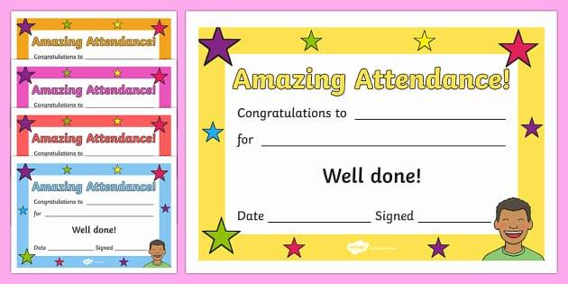 Perfect attendance Certificate Editable Fresh Free Amazing attendance Award Certificate