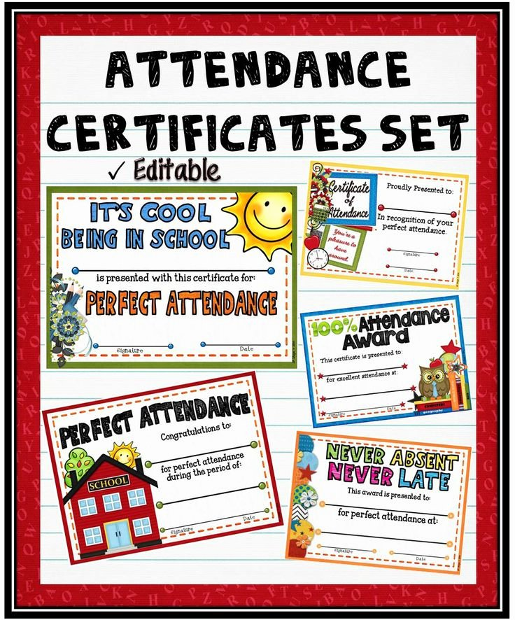 Perfect attendance Certificate Editable Lovely Best 25 attendance Certificate Ideas On Pinterest