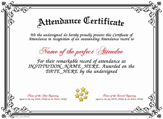 Perfect attendance Certificate Editable Lovely Pin by Cookie On Certificates