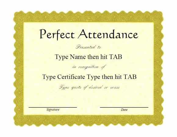 Perfect attendance Certificate for Employees Awesome 40 Printable Perfect attendance Award Templates & Ideas