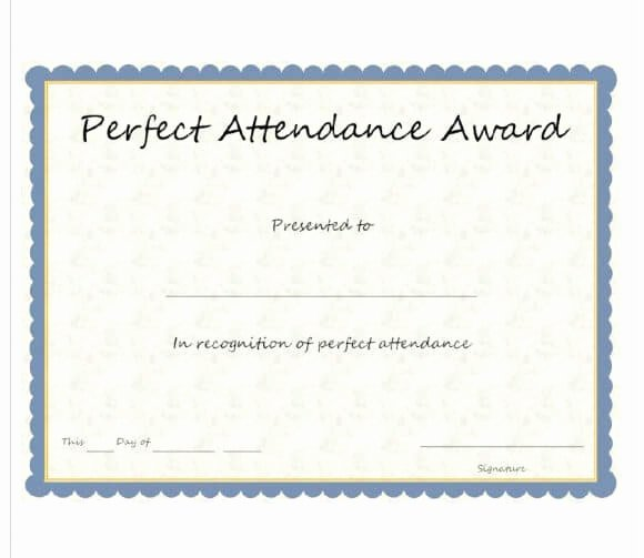 Perfect attendance Certificate for Employees Beautiful 40 Printable Perfect attendance Award Templates & Ideas