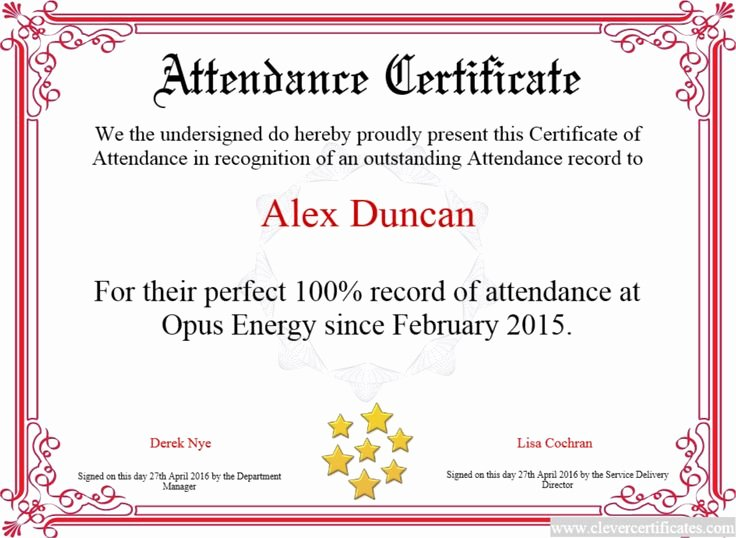 Perfect attendance Certificate for Employees Elegant 17 Best Images About Award Certificate Templates On