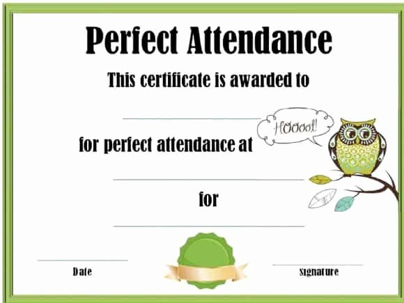 Perfect attendance Certificate for Employees Elegant 40 Printable Perfect attendance Award Templates & Ideas