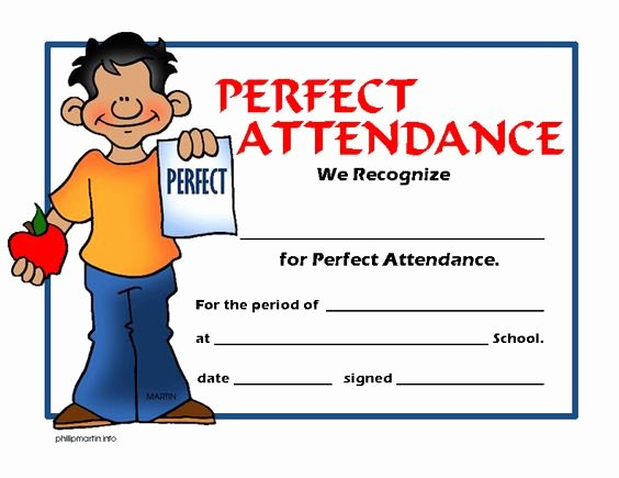 Perfect attendance Certificate for Employees Lovely Free Certificates Clip Art by Phillip Martin Honor Roll