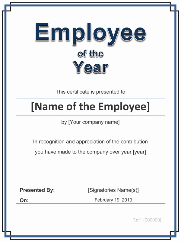 Perfect attendance Certificate for Employees Lovely Perfect Certificate Template for Employee Of the Year with