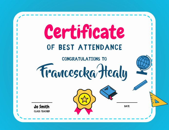Perfect attendance Certificate Free Download Elegant Best attendance Certificate Template