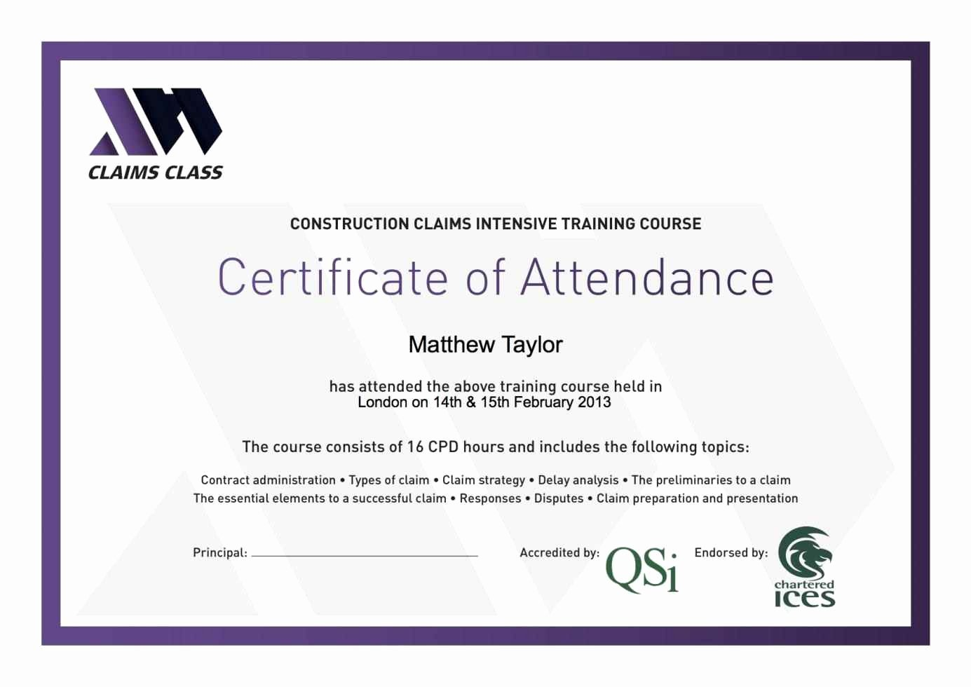 Perfect attendance Certificate Free Download Fresh Certificate attendance Template Free Template
