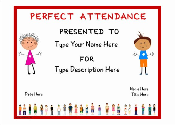 Perfect attendance Certificate Free Template Awesome attendance Certificate Templates