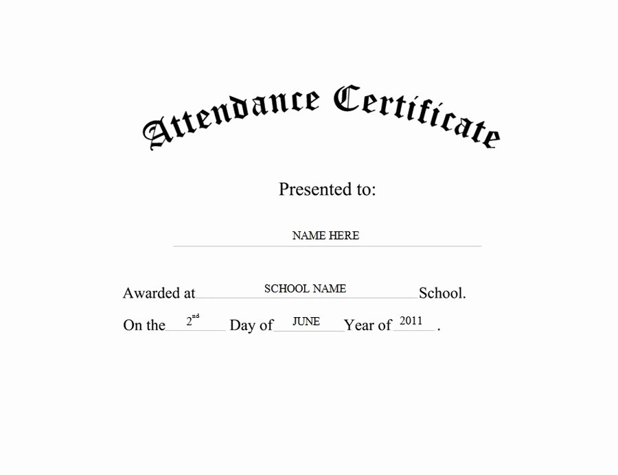 Perfect attendance Certificate Free Template Fresh attendance Certificate Free Templates Clip Art & Wording