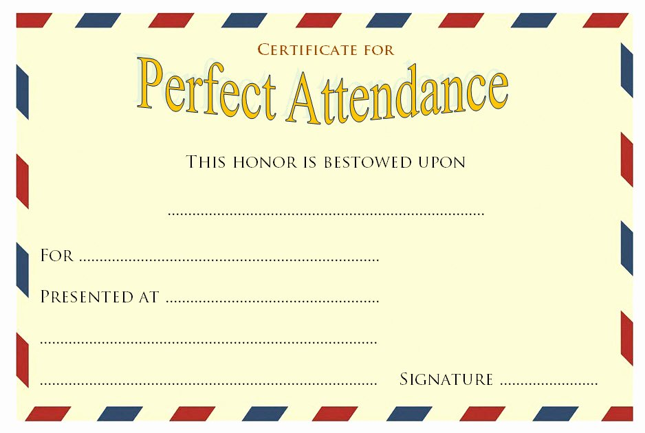Perfect attendance Certificate Pdf Awesome 8 Printable Perfect attendance Certificate Template Designs