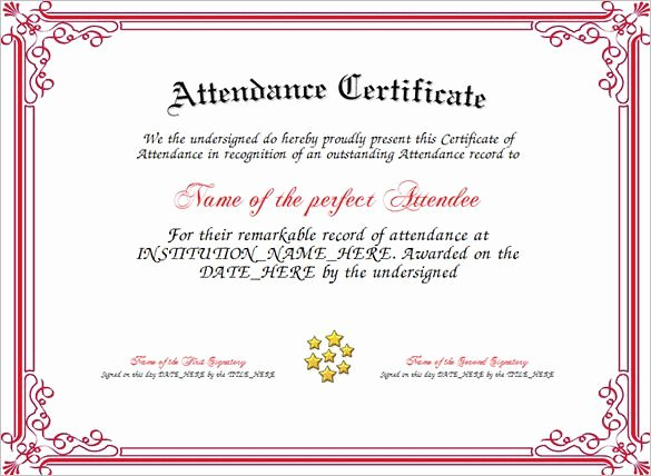 Perfect attendance Certificate Pdf Awesome attendance Certificate Templates
