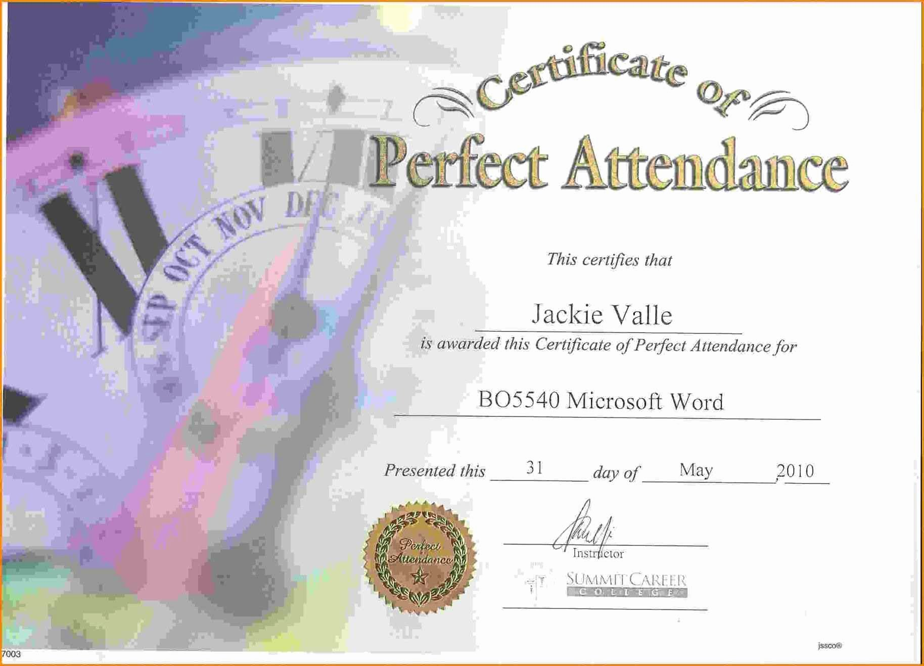 Perfect attendance Certificate Pdf Beautiful Free Perfect attendance Certificate Template Template