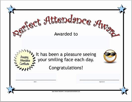 Perfect attendance Certificate Pdf Elegant Perfect attendance Certificate