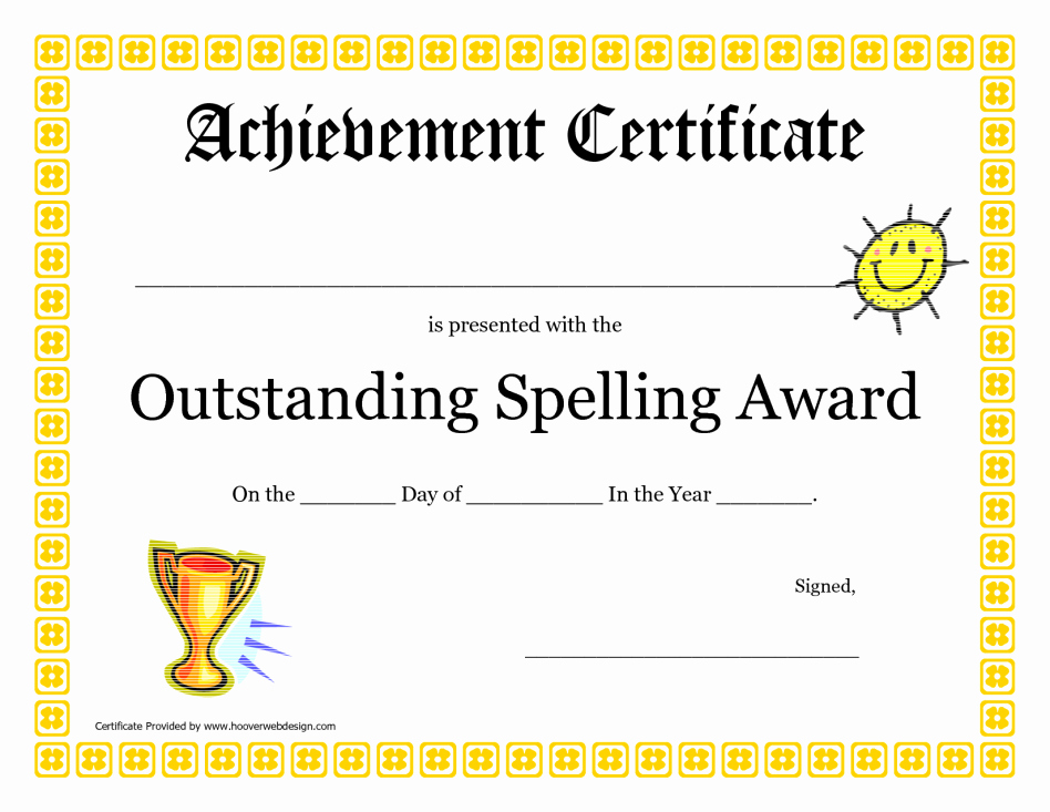 outstanding spelling award printable certificate pdf picture pta