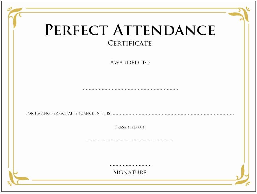 Perfect attendance Certificate Pdf Inspirational 8 Printable Perfect attendance Certificate Template Designs