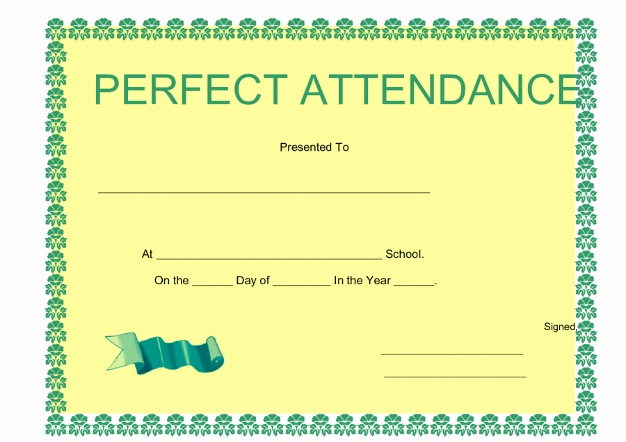 Perfect attendance Certificate Pdf Lovely 2019 Certificate Of attendance Fillable Printable Pdf