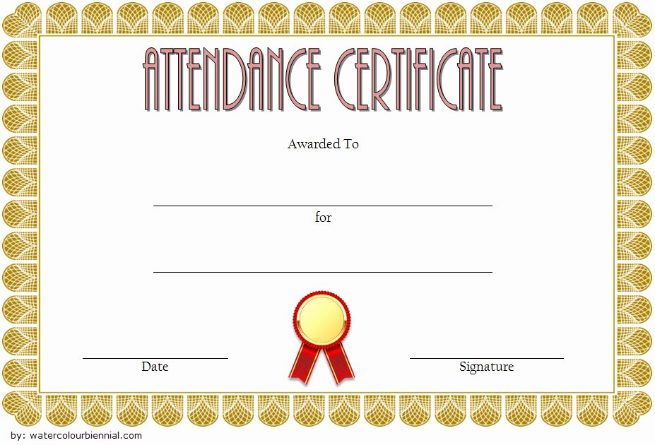 Perfect attendance Certificate Pdf Lovely 8 Printable Perfect attendance Certificate Template Designs
