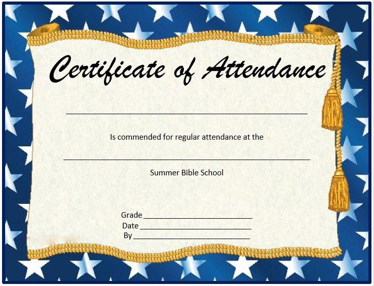 Perfect attendance Certificate Pdf Luxury 8 Free Sample attendance Certificate Templates Printable