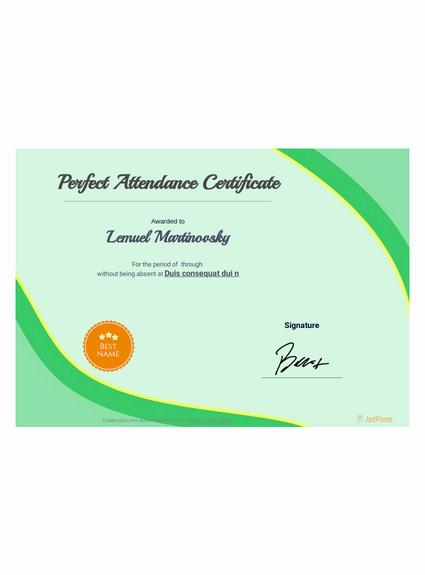 Perfect attendance Certificate Pdf Unique Perfect attendance Award Certificate Template Pdf