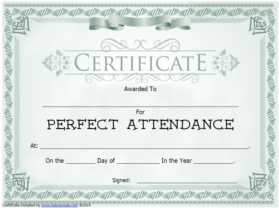 Perfect attendance Certificate Printable Elegant 13 Free Sample Perfect attendance Certificate Templates