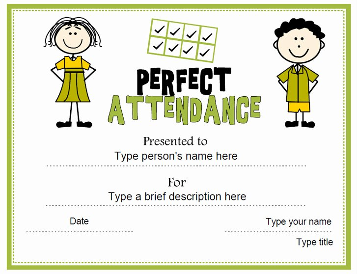Perfect attendance Certificate Printable Elegant Education Certificates Perfect attendance Award