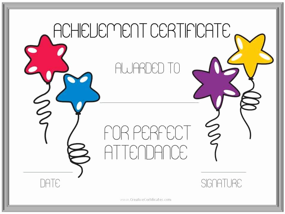 Perfect attendance Certificate Printable Unique Perfect attendance Award Certificates