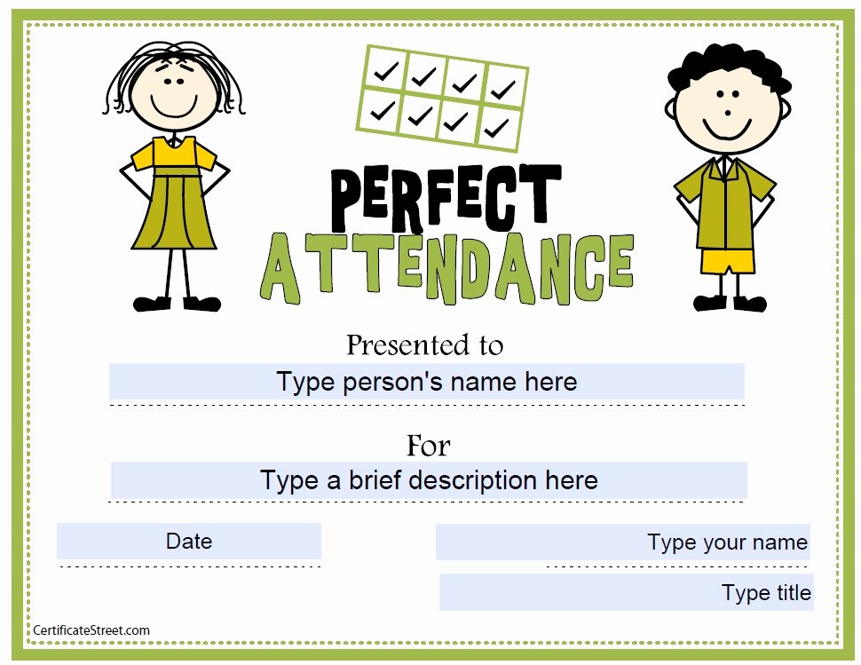 Perfect attendance Certificate Template Awesome 13 Free Sample Perfect attendance Certificate Templates