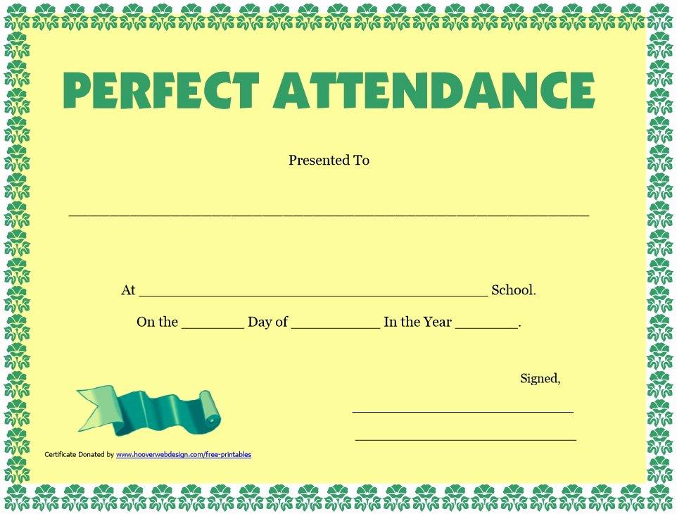 Perfect attendance Certificate Template Awesome 8 Free Sample attendance Certificate Templates Printable