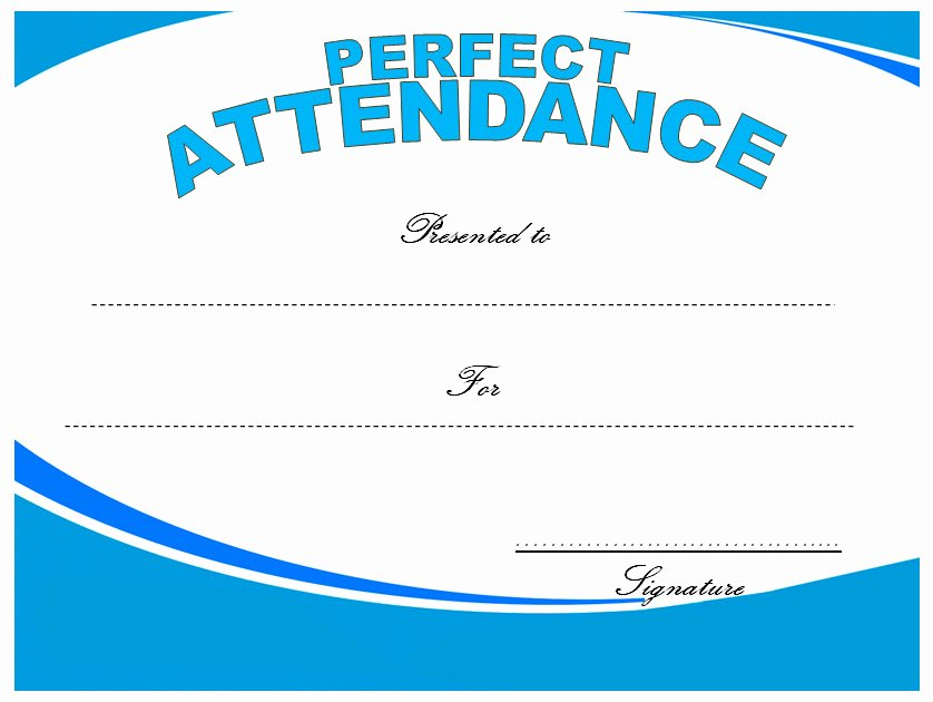 Perfect attendance Certificate Template Free Best Of 8 Printable Perfect attendance Certificate Template Designs