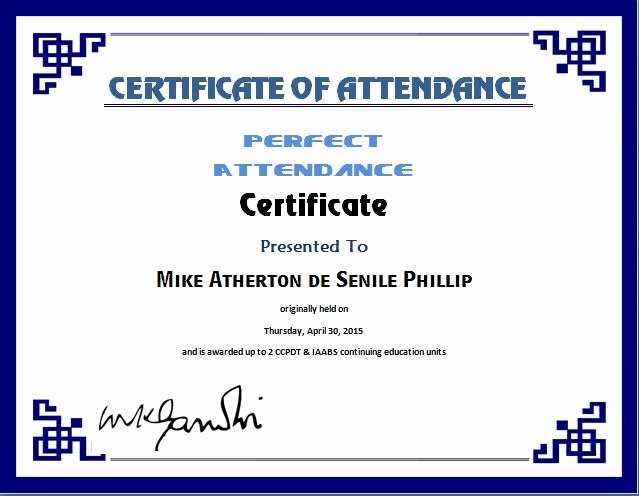 Perfect attendance Certificate Template Free Best Of Certificate Templates Perfect attendance Certificate