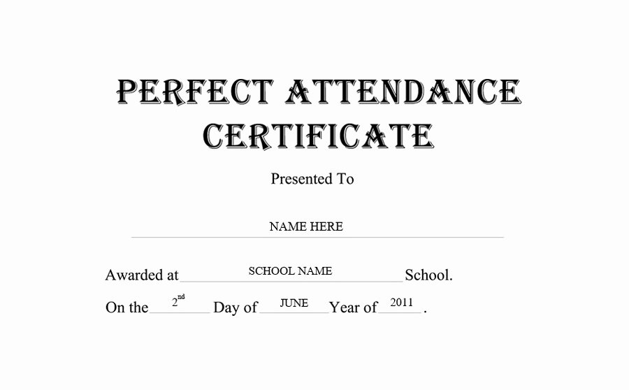 Perfect attendance Certificate Template Free Elegant Perfect attendance Certificate Free Templates Clip Art