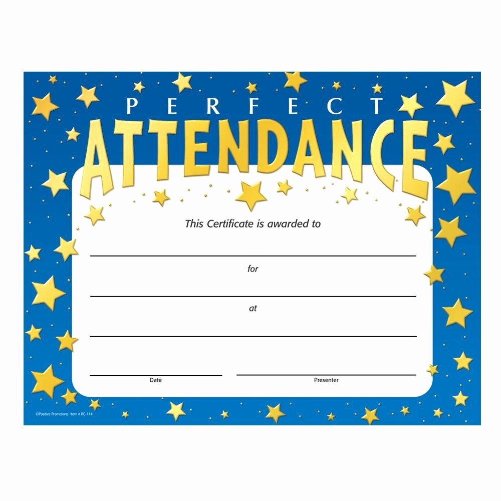 Perfect attendance Certificate Template Free Elegant Perfect attendance Stars Design Gold Foil Stamped Certificates