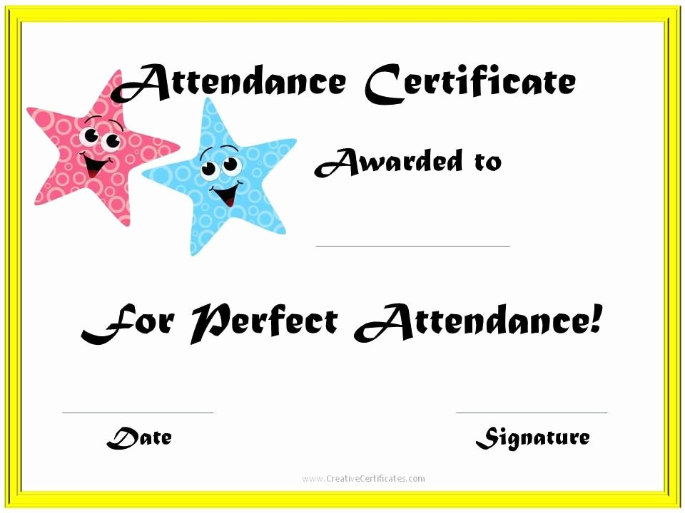 Perfect attendance Certificate Template Free Unique School attendance Award Slp
