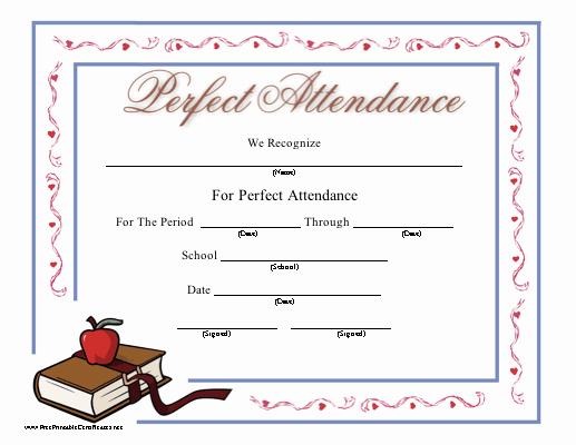 Perfect attendance Certificate Template Fresh Perfect attendance Certificate Printable Certificate