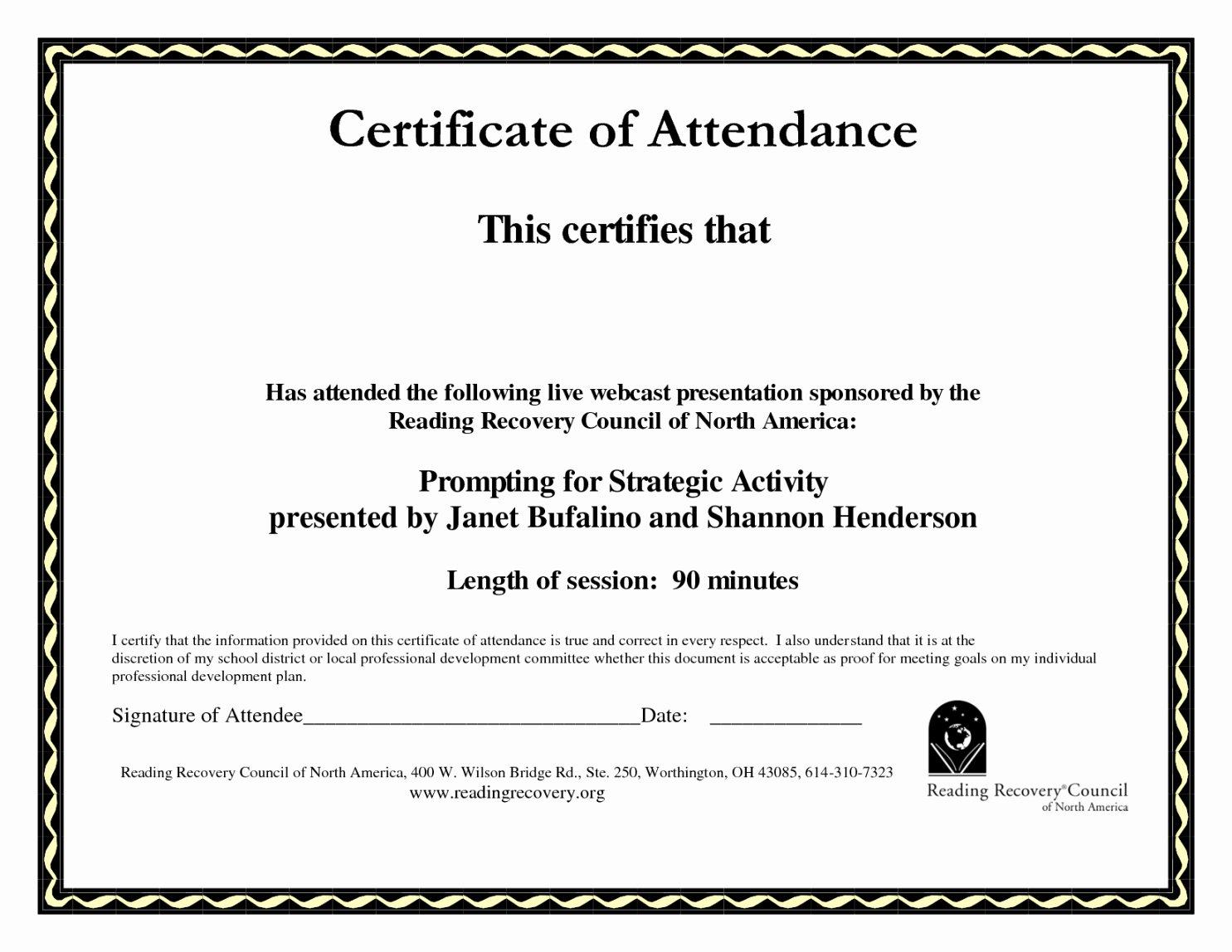 Perfect attendance Certificate Template Luxury Certificate Perfect attendance Template