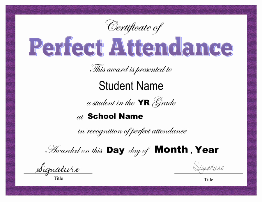 Perfect attendance Certificate Template New Certificate Of attendance Free Certificate Of attendance