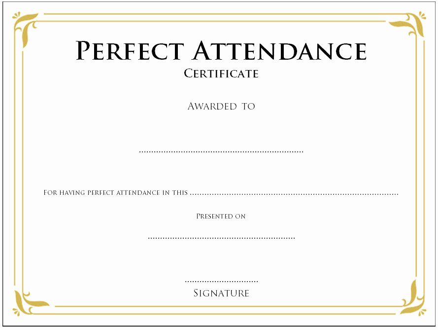 Perfect attendance Certificate Template Word Awesome 8 Printable Perfect attendance Certificate Template Designs