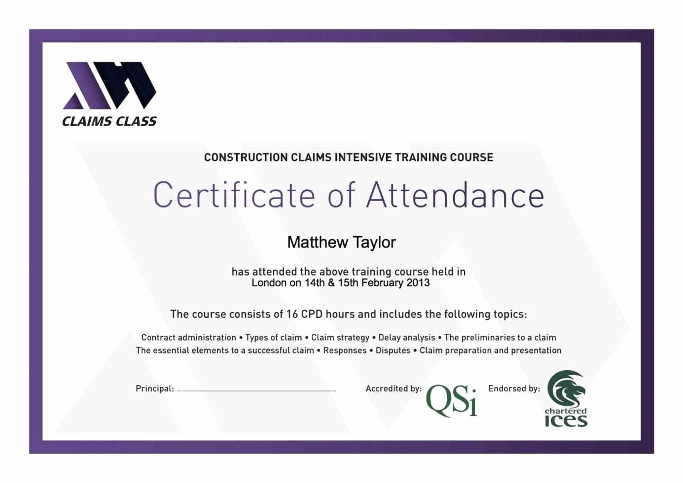 certificate attendance template