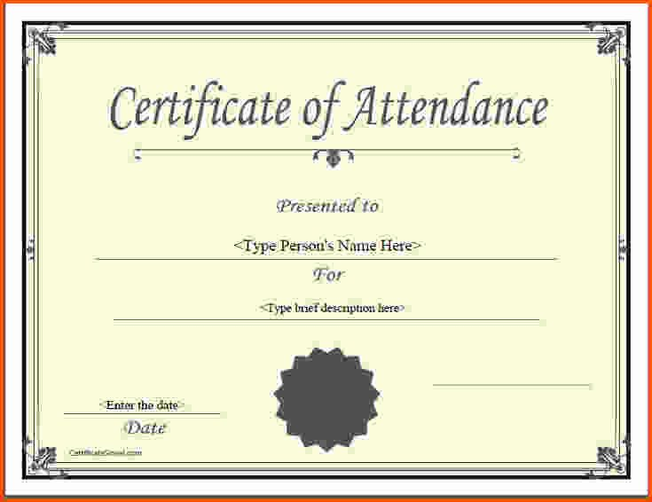 Perfect attendance Certificate Template Word Fresh 5 Certificate Of attendance Template