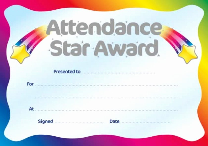 Perfect attendance Certificate Templates Awesome Printable Perfect attendance Award Certificate