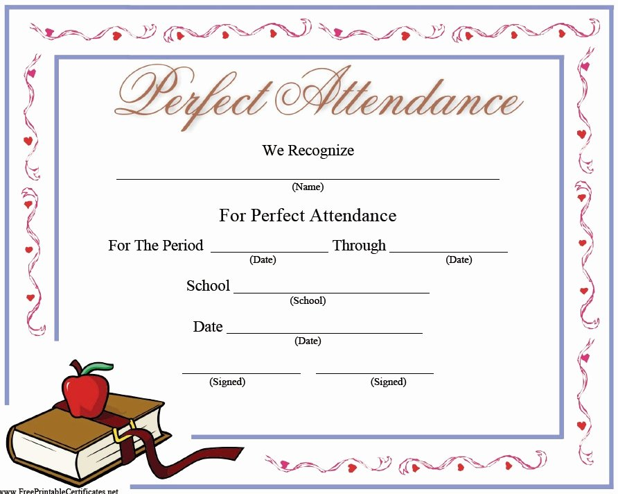 Perfect attendance Certificate Templates Beautiful 13 Free Sample Perfect attendance Certificate Templates