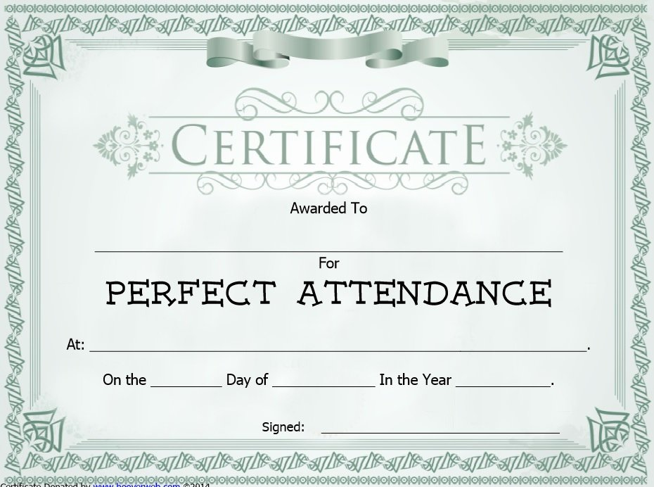 Perfect attendance Certificate Templates Fresh 8 Free Sample attendance Certificate Templates Printable