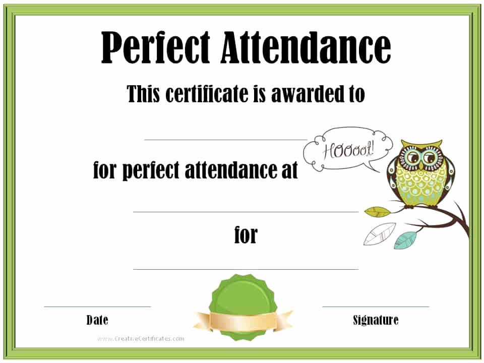 Perfect attendance Certificate Templates Fresh Perfect attendance Award Certificates