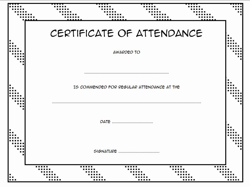 Perfect attendance Certificate Word Fresh 8 Printable Perfect attendance Certificate Template Designs