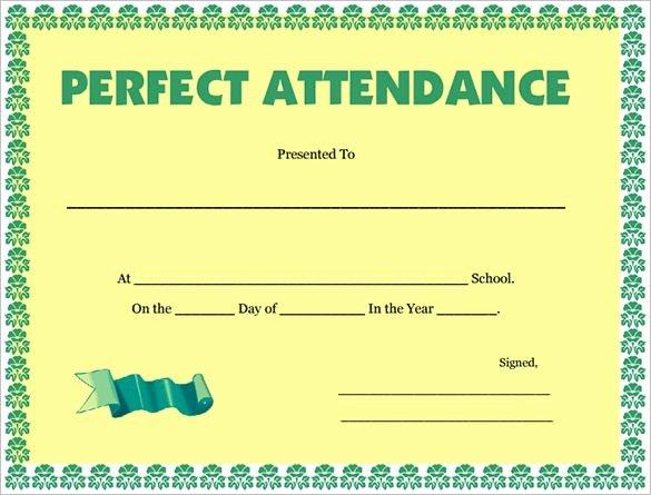 Perfect attendance Certificate Word Fresh attendance Certificate Templates