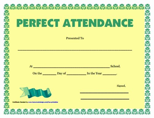 Perfect attendance Certificate Word Lovely Microsoft Perfect attendance Award Templates Free